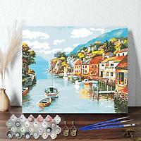 Tranh sơn dầu số hoá 40 x 50 cm có khung - Village on Water