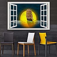 Bức tranh 3D dán tường cửa sổ BÌNH MINH- HOÀNG HÔN 2 lựa chọn bề mặt cán PVC gương hoặc cán bóng kính, ms: 00402026L11