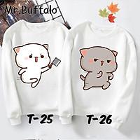 Áo nỉ đôi sweater nam nữ thu đông hình mèo Mochi cực đáng yêu