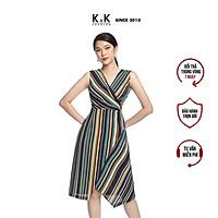 Đầm Công Sở Wrap Dress Dáng Chữ A K&K Fashion KK106-01 Họa Tiết Kẻ Sọc