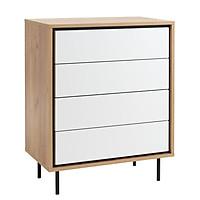 Tủ ngăn kéo JYSK Halby  4 ngăn  gỗ công nghiệp trắng/sồi R73xC93xS45cm