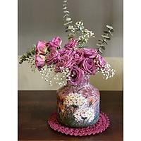Lọ gốm vẽ hoa trinh nữ dáng tròn