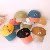 Mũ lưỡi trai dành cho bé trai bé gái mùa hè chữ S P M N C A B mã D31