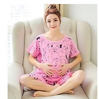Bộ bầu và sau sinh cho bé bú họa tiết các tính màu hồng dễ thương BN 522