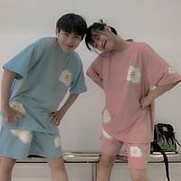 Sét Bộ Đồ Nam Nữ Mặc nhà, Đi Chơi Dạo Phố, Mặc Ở Nhà Chất Liệu Cotton Mềm Mịn Mát, Phong Cách Teen Hàn Quốc, đồ bộ in trứng mới về, đồ bộ mặc nhà mùa hè nam nữ