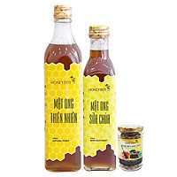 Combo Mật Ong Thiên Nhiên Honeyboy (500ml) + Mật Ong Sữa Chúa Honeyboy (250ml) - Tặng Nghệ Đen Mật Ong Honeyboy (80g)