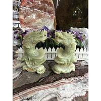 Cặp Cá chép hóa Rồng phong thủy đá ngọc onyx - Cao 20 cm
