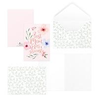 Thiệp tặng mẹ ngày của mẹ ngày phụ nữ 12,5x17,6 BEST MOM EVER SERIOUSLY SDstationery PURPLE hoa màu nước chữ viết tay
