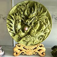 Rồng nhả ngọc rồng phượng đĩa rồng vật phẩm phong thủy quà tặng cao cấp cho gia đình thịnh vượng đường kính 39 cm cân nặng 13 kg ngọc serpentine của Việt Nam