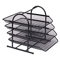 4 Tier File Holder Tray Magazine Rack Desk Metal Iron Mesh Document Organizer for Home or Office