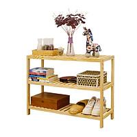 Kệ đa năng Vuadecor Bench 3FM bằng gỗ thông kiểu Hàn màu gỗ tự nhiên