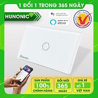 Công tắc thông minh Hunonic 1 nút hỗ trợ Google Assistant . Công tắc cảm ứng WIFI kính cường lực- Công tắc điện 2 màu đen trắng | Hàng Việt Nam Chất Lượng Cao- BH 12 tháng