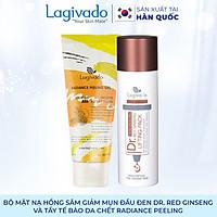Bộ đôi Gel mặt nạ hồng sâm giảm mụn đầu đen Hàn Quốc Lagivado Dr. Red Ginseng 50 ml và tẩy tế bào da chết Radiance Peeling 50 ml.