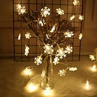 Dây Đèn Led - Đèn Bông Tuyết Cổ Tích Màu Trắng Ấm Không Thấm Nước Trang Trí Cho Các Bữa Tiệc Phòng Ngủ, Giáng Sinh, Lễ, Tết Chạy Bằng Pin