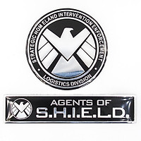 Set 2 Sticker hình dán metal Shield tròn & chữ nhật - Chim ưng trắng