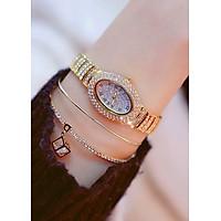 Đồng hồ nữ BS cao cấp mặt ovan đính đá dây thép không gỉ