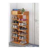 Kệ gỗ ghép để giày dép 14 tầng chắc chắn giá rẻ - Kệ giày cây gỗ MDF 2 mảnh chắn phía sau