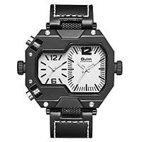 Stylish Men Quartz Watch Casual Leather Watchband Two Time Zones Wristwatch