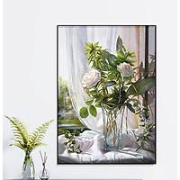 Tranh treo tường gỗ kim sa bo viền hoa hồng trong nắng  KT09( 50x70cm)