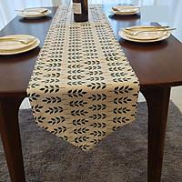 Khăn trải bàn table runner vải bố - Họa tiết lá - mẫu D10
