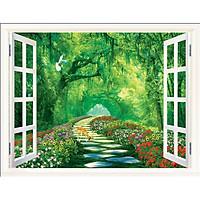 Tranh dán tường 3D cửa sổ con đường rừng cây - VẢI LỤA phủ kim sa (kích thước theo yêu cầu)