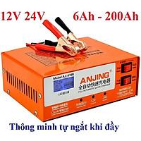 Máy sạc bình ắc quy tự động 12V 24V 200AH ANJING chức năng tự ngắt khi đầy bảo vệ ắc quy sạc cho cả bình khô và nước