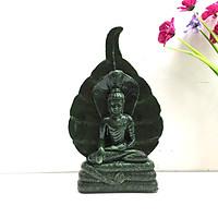 Tượng đá Đức Phật ngồi trong tòa rắn Naga - Màu xanh lục bích