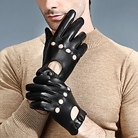 Men's Retro Black Real Leather Driving Gloves Screen Touch Motorcycle Gloves