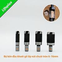 Bộ 4 mũi khoan lấy nút gỗ chuôi tròn 6-16mm