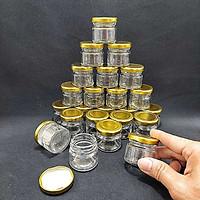 Hũ Thủy Tinh Nhỏ 30ML (combo 30 hũ) mẫu Trụ Tròn nắp thiếc vàng – Lọ đựng mật ong, sữa ong chúa, thực phẩm, mỹ phẩm