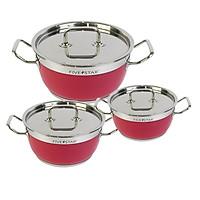 Bộ 3 nồi màu Fivestar inox 430 ( 16cm x 20cm x 24cm ) nắp inox 3 đáy dùng được bếp từ , hồng ngoại , gas