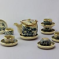 Bộ ấm chén Vại men rạn bọc đồng gốm sứ Bát Tràng (bộ bình uống trà, bình trà)