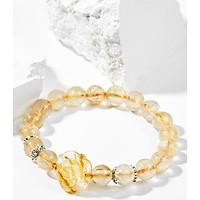 Vòng Tay Phong Thủy Nữ Đá Thạch Anh Tóc Vàng Phối Hoa Mẫu Đơn (9mm) Mệnh Thổ, Kim Ngọc Quý Gemstones