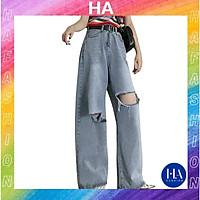Quần Jean Nữ Ống Rộng H&A Fashion Lưng Cao Màu Xanh Xám Rách Gối TBQBB2046