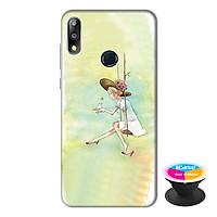 Ốp lưng điện thoại Asus Zenfone Max Pro M2 hình Cô Gái Xích Đu tặng kèm giá đỡ điện thoại iCase xinh xắn - Hàng chính hãng