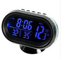 Car Thermometer Digital Clock DC 12V Automobile Clock LED Lighted Auto Dual Temperature Gauge Voltmeter Voltage Tester
