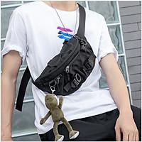 Túi đeo chéo nam túi bao tử đeo bụng hông thời trang nhật bản phong cách năng động Kabek kabe101 mạnh mẽ chất vải đen dệt kim họa tiết phức tạp độc đáo nổi bật trẻ trung hiện đại