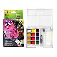 Màu nước nén Koi Water Colors 12 màu nhũ