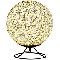 Đèn ngủ sáng tạo quả cầu mây, đèn trang trí có đế kim loại sang trọng