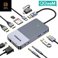 Hub mở rộng USB 3.0 QGeeM đa năng 9 trong 1 cho Macbook Pro, xuất hình ảnh ra ba mà-n hình từ USB Type C sang HDMI*2, VGA*1-Hàng chính hãng