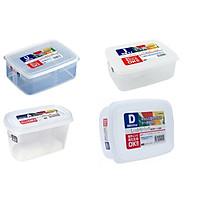 Combo 04 hộp nhựa cao cấp bảo quản thực phẩm Nakaya hình chữ nhật (Full size) - Nội địa Nhật Bản