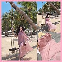 Đầm maxi yếm hồng baby nơ cổ vintage tiểu thư hàng 2 lớp siêu xinh, Váy kiểu nữ đi biển dáng dài phong cách trẻ trung năng động đẹp rẻ phù hợp đi dạo đi chơi