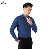 Áo sơ mi nam tay dài ADINO màu xanh than vải sợi sồi modal dáng slimfit trẻ trung S305