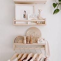 Kệ gỗ treo tường Chữ U (kèm Móc treo quần áo)/ Đựng Gia Vị Bếp/ Giá treo đa năng phòng tắm