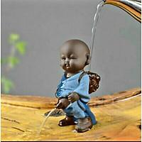 TƯỢNG CHÚ TIỂU ĐỨNG TÈ gốm tử sa tượng màu xanh