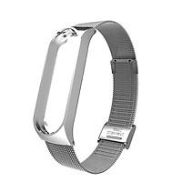 Dây đeo cổ tay kim loại thép không gỉ cho miband 2 / 3 / 4 cao cấp