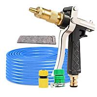 Bộ dây vòi xịt nước rửa xe, tưới cây đa năng, tăng áp 3 lần, loại 3m, 5m 206236Eđầu đồng, cút+ tặng túi đựng bút