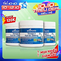 Combo 3 Hộp Dầu Cá Goodhealth Omega 3 Fish Oil 1000mg 150 Viên - Bổ Não - Tăng Trí Nhớ - Mắt Tinh - Chính Hãng Từ New Zealand