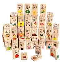 Bộ Thẻ gỗ 2 mặt Flashcard từ vựng Tiếng Hoa
