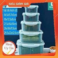 HỘP ĐỰNG ĐỒ BẢO QUẢN TỦ LẠNH - Bộ set 5 rổ hộp đựng đồ tủ lạnh đa năng thông minh cao cấp